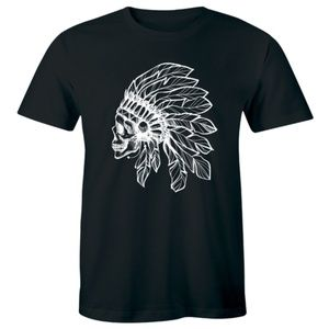 Amazing Tribal Skeleton Head Skull Feather T-shirt